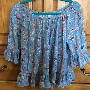 Boho blue blouse